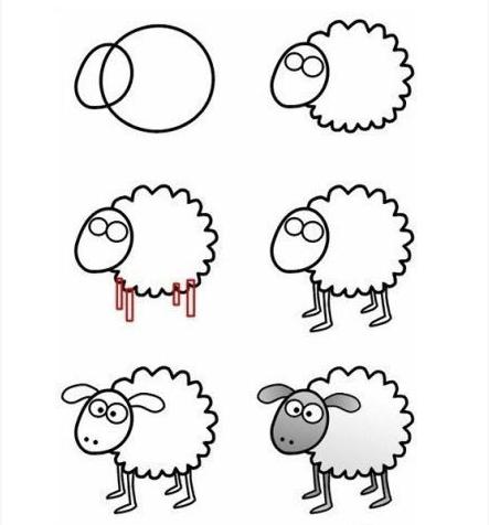 幼儿简笔画绵羊步骤