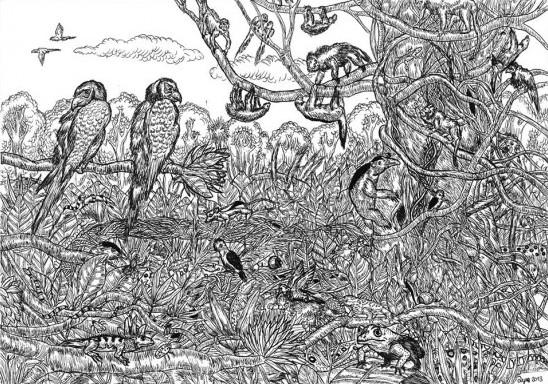 所画题材包括史前动物