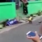 小猴街头骑车表演 不料撞翻一男童