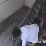 暴徒为抢包,将母女二人拖下楼梯