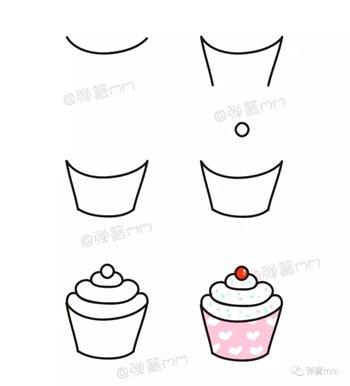 儿童简笔画之樱桃纸杯蛋糕