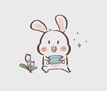 儿童简笔画之戴口罩的小兔子图片