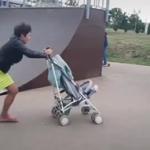 醉酒女推婴儿车冲滑板坡,可怜宝宝被多次摔出
