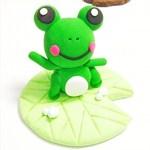 敲可爱黏土手工:大眼小青蛙